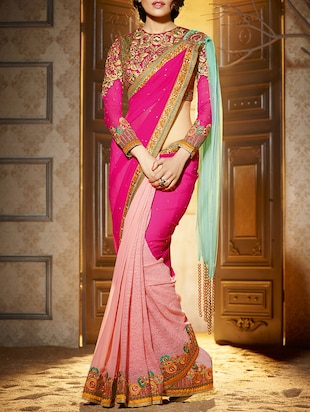 pink georgette half and saree