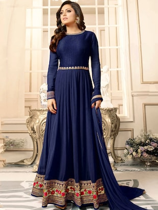 blue faux georgette semi-stitched flared suit