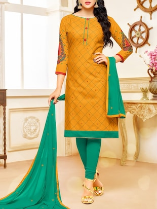 yellow cotton churidaar suits unstitched suit