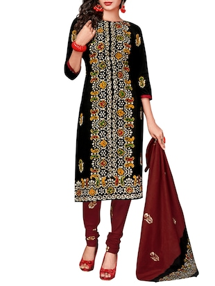 black cotton printed unstitched suit