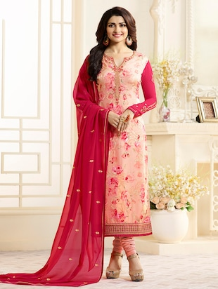 pink semi-stitched churidaar suit