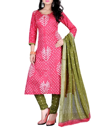 pink cotton unstitched churidaar suit