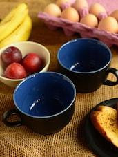 Two Tone Mugs-black And Blue Set Of 2 - Habitation
