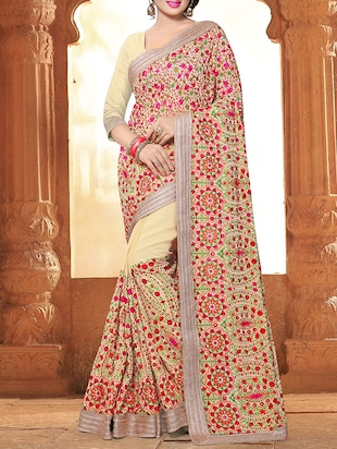 cream georgette embroidered saree with blouse