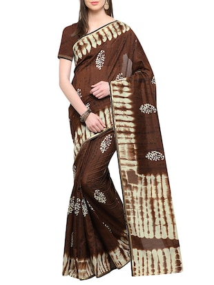 brown cotton printed saree with blouse