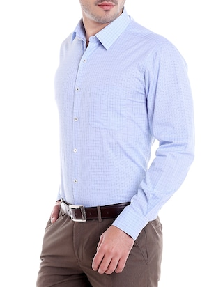 blue cotton formal shirt - 14666389 - Standard Image - 2