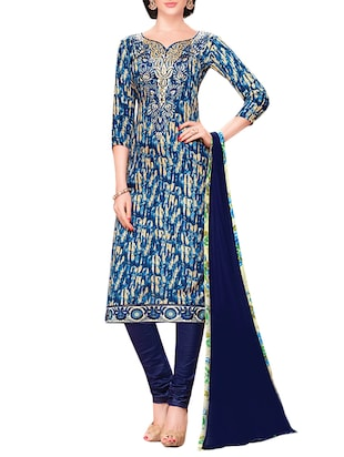 blue cotton churidaar suits unstitched suit