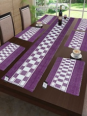 Cotton Ribbed Table Mats With Runner Set Of 7