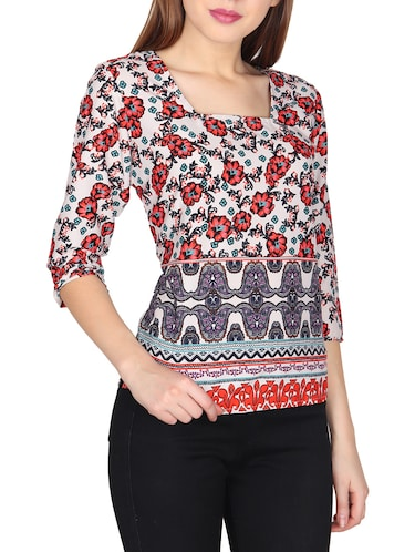 red casual printed top - 14676916 - Standard Image - 1