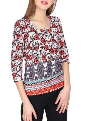 red casual printed top - 14676916 - Standard Image - 2