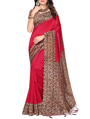 red art silk printed saree with blouse
