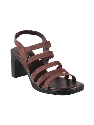 brown faux leather back strap sandals