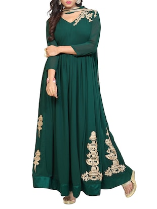 green flared suit semi-stitched suit