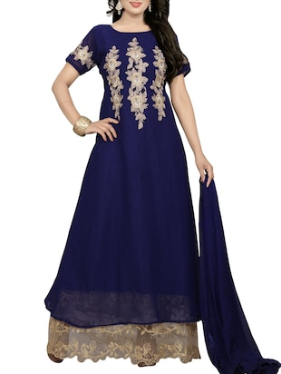 blue georgette embroidered semi-stitched suit
