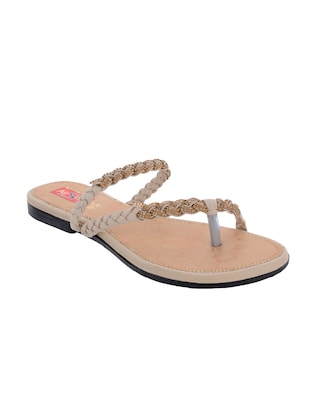 beige one toe sandal