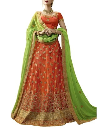 orange net flared lehenga