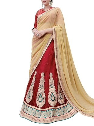 red net flared lehenga