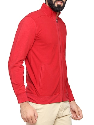 red cotton casual jacket - 14731951 - Standard Image - 2