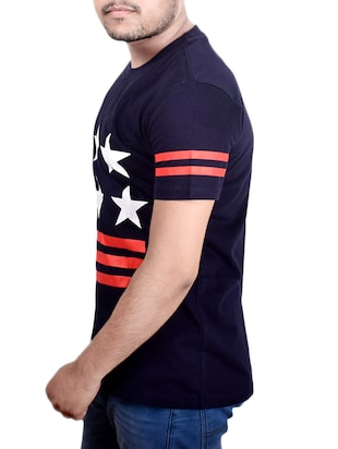 navy blue cotton chest print tshirt - 14732548 - Standard Image - 2