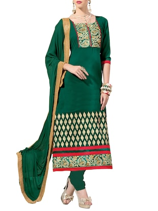 green georgette embroidered unstitched suit