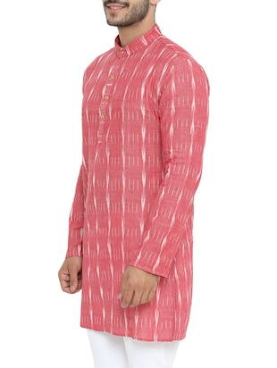 pink cotton long kurta - 14738826 - Standard Image - 2