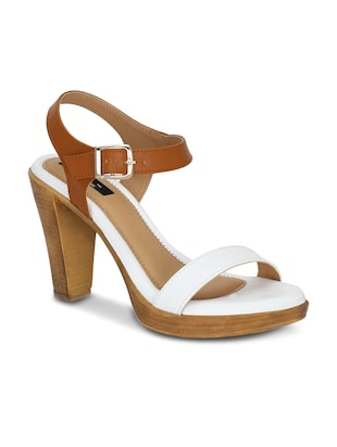 white faux leather ankle strap sandals