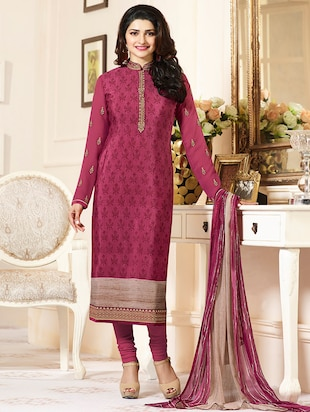 pink crepe churidaar suits semistitched suit