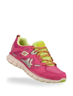 Women's Synergy Pink & Green Sneakers - Skechers