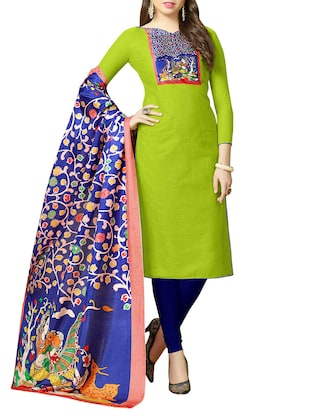green cotton semi-stitched churidaar suit