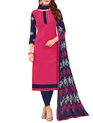 pink cotton semi-stitched churidaar suit