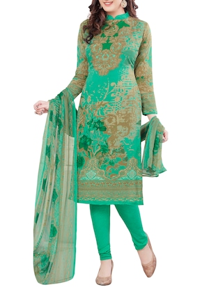 green crepe printed unstitched suit
