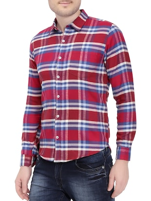 red cotton casual shirt - 14762024 - Standard Image - 2