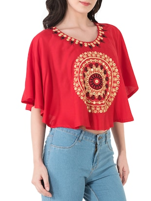 red rayon top - 14762082 - Standard Image - 2