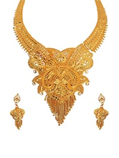 gold metal long necklace -  online shopping for Necklaces