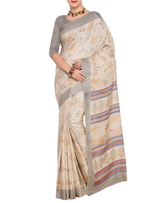 beige art silk printed saree with blouse