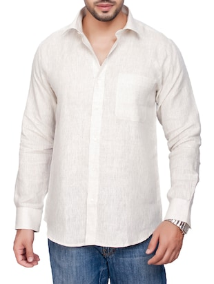 white linen casual shirt
