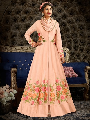 Pink art silk embroidered semi-stitched suit