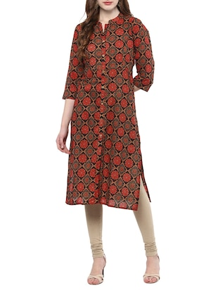 Multicolored cotton straight kurta