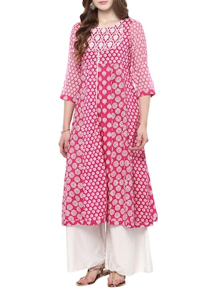 pink cotton anarkali kurta
