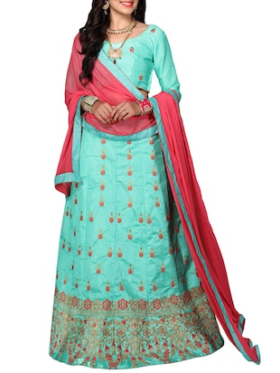 green satin embroidered lehenga