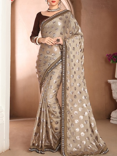 Beige printed saree with blouse - 14781805 - Standard Image - 1