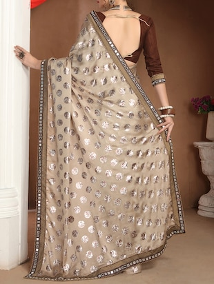 Beige printed saree with blouse - 14781805 - Standard Image - 2