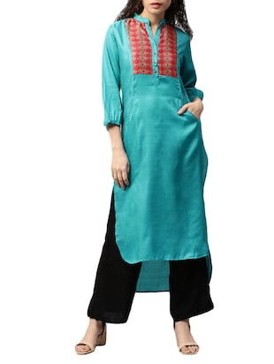 blue satin high-low kurta