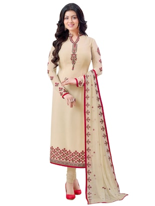 Cream georgette embroidered unstitched suit