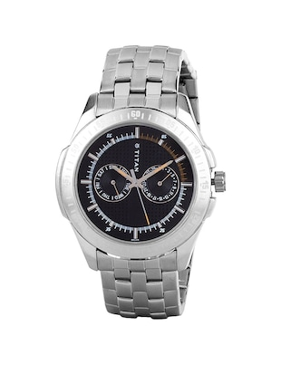 Titan Black Dial  Watch For Men - 1587SM03