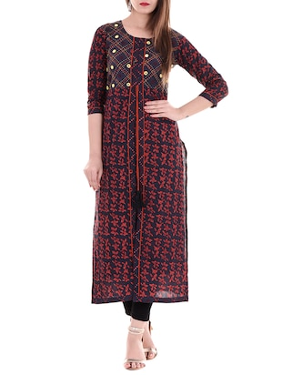 blue cotton high slit kurta