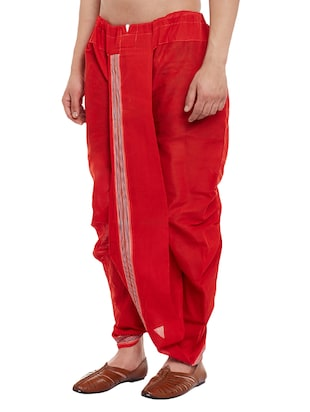 red cotton dhoti - 14794001 - Standard Image - 2