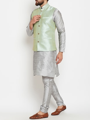 grey and light green dupion ethnic wear set - 14794187 - Standard Image - 2