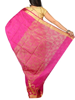 pink woven saree with blouse - 14795233 - Standard Image - 2