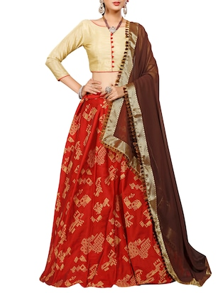 maroon art silk flared lehenga